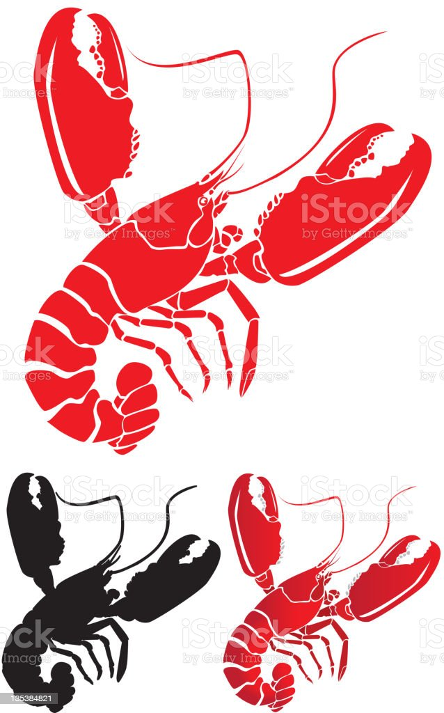 Lobster with Big Claws vector art illustration