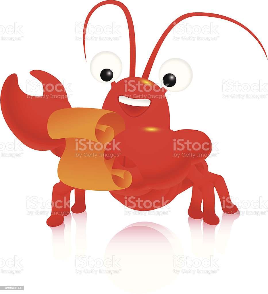 Lobster with recipe royalty-free stock vector art
