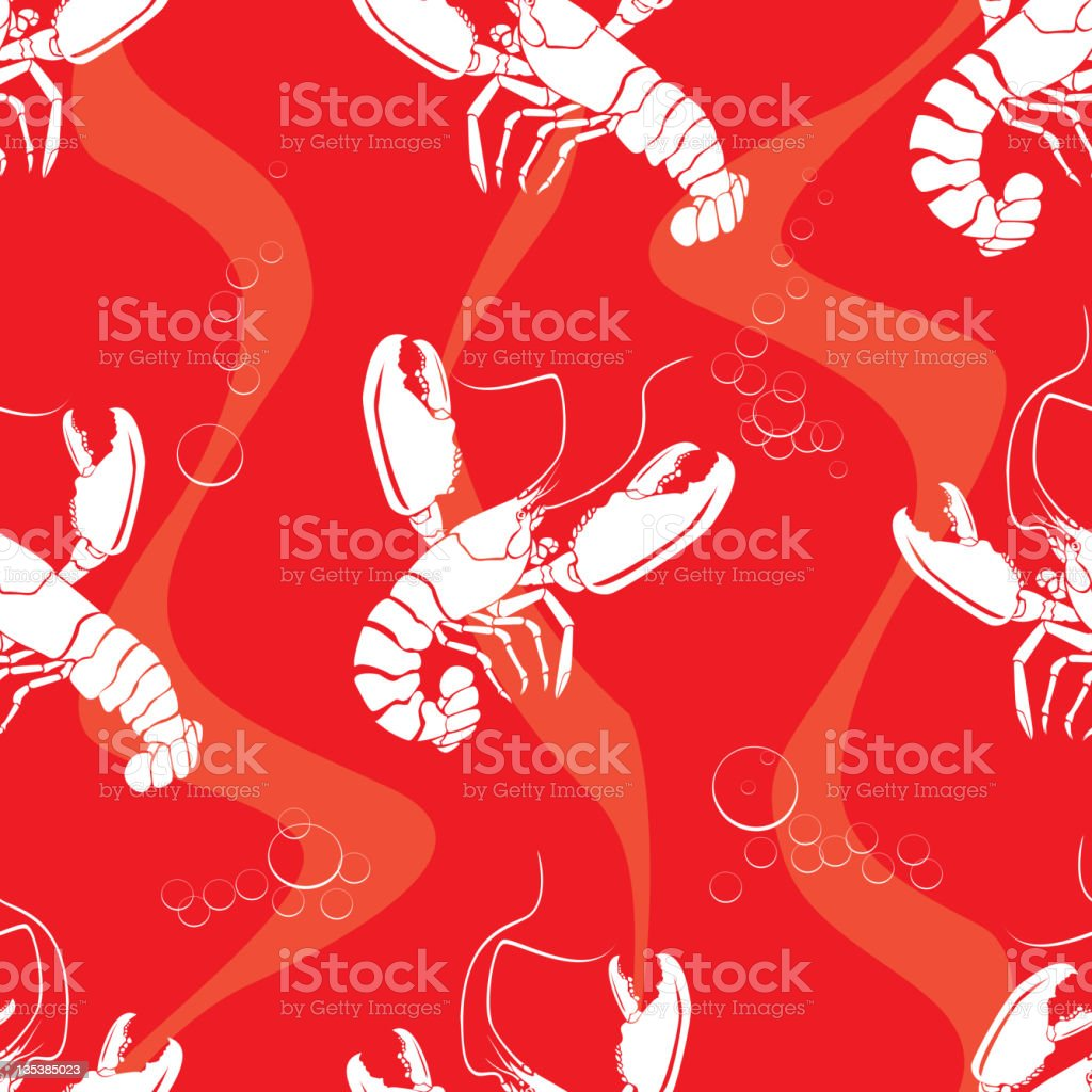 Lobsters, Seamless Pattern royalty-free stock vector art
