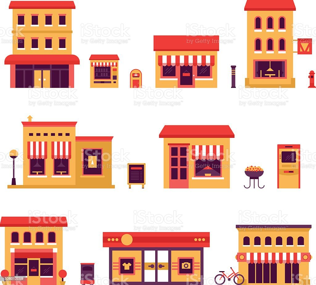 Local Business Buildings vector art illustration