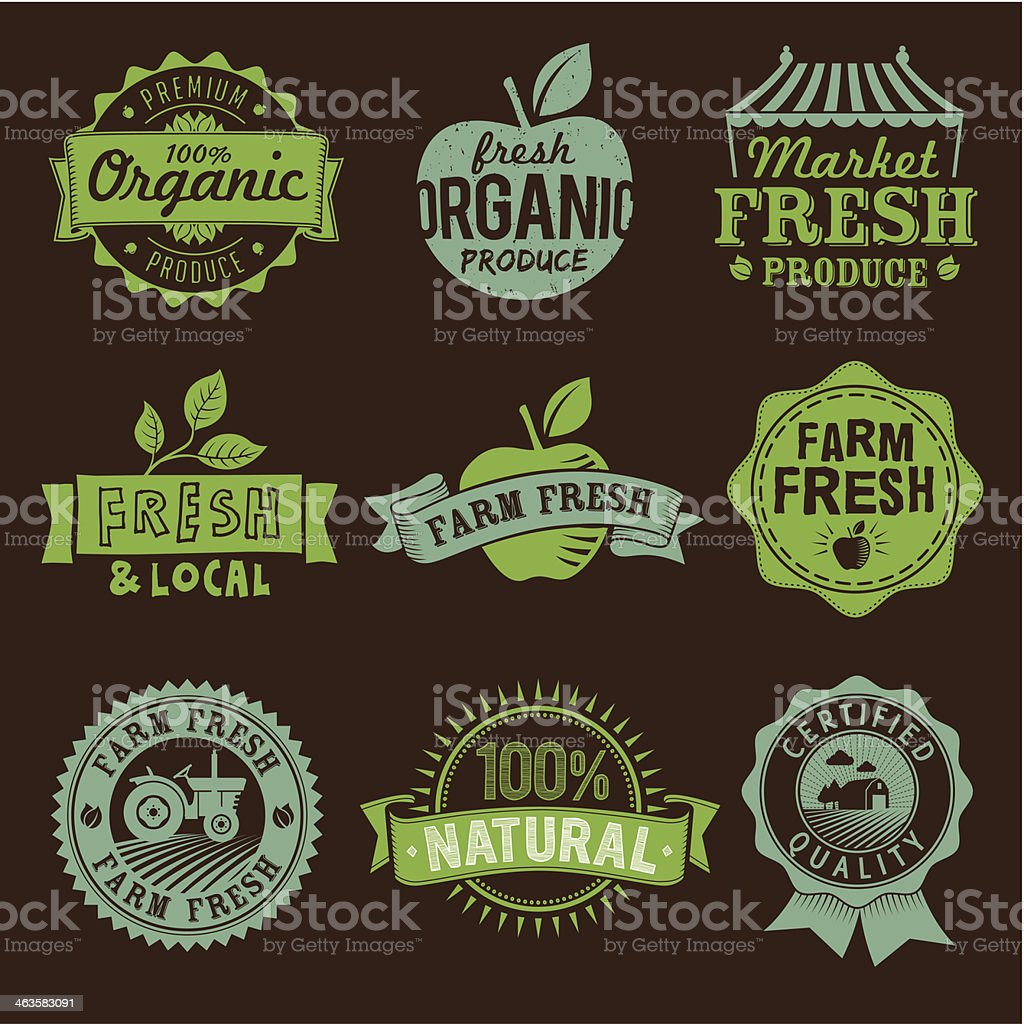 Local, Fresh, Organic, Natural, Farm food labels, icons and logo vector art illustration