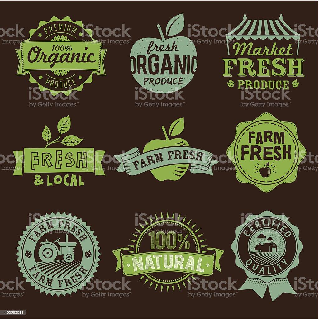 Local, Fresh, Organic, Natural, Farm food labels, icons and logo vector art illustration