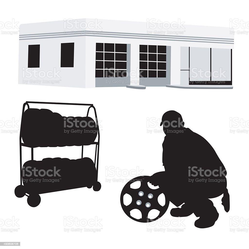 Local Garage vector art illustration