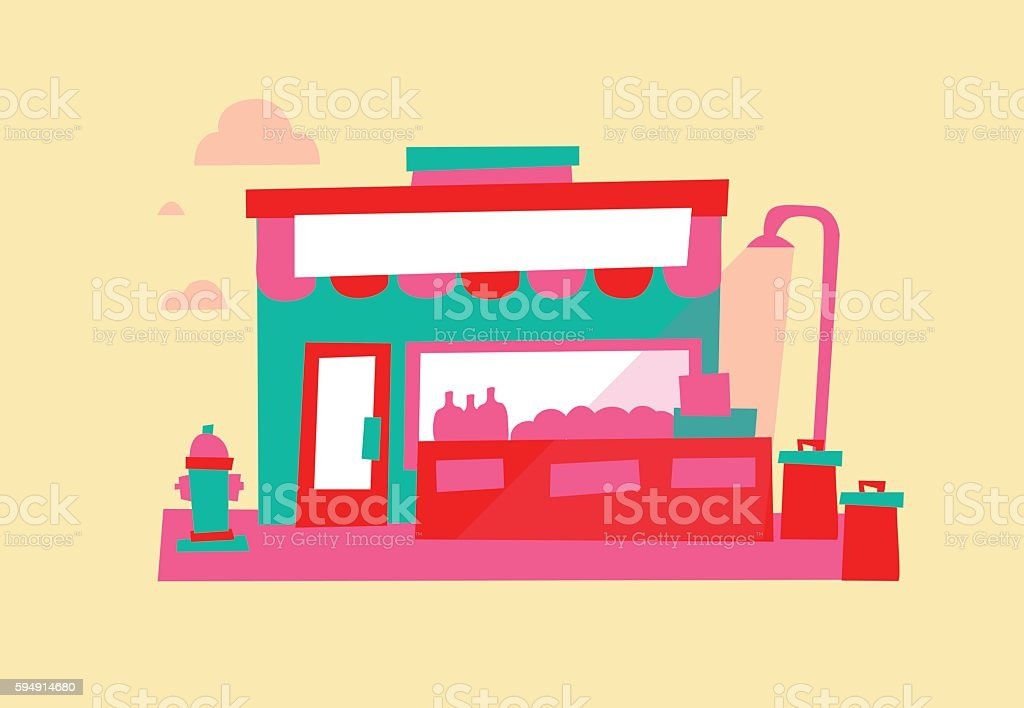 Local Grocery Store vector art illustration