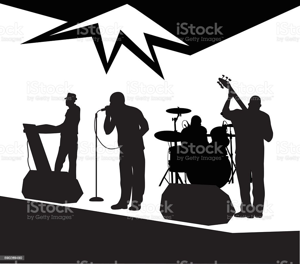 Local Live Music Band vector art illustration