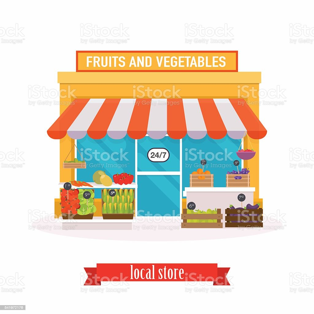 Local market Fruit and vegetables. Farmers market. Flat design m vector art illustration
