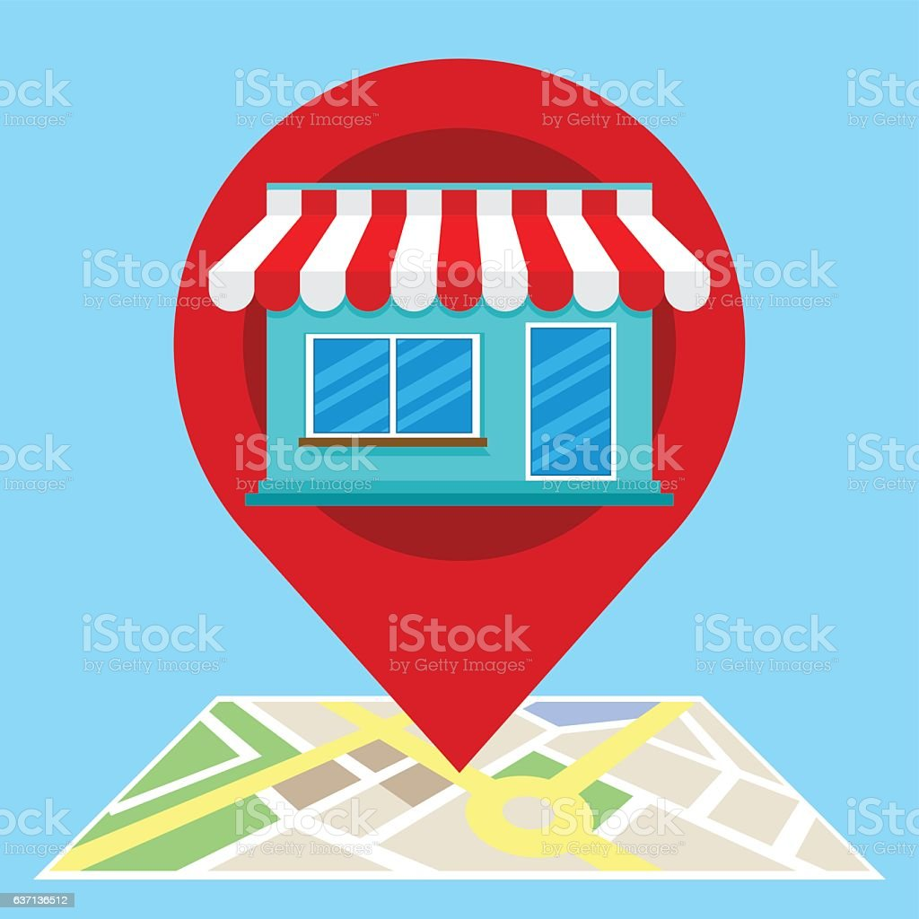 local search marketing ecommerce vector art illustration