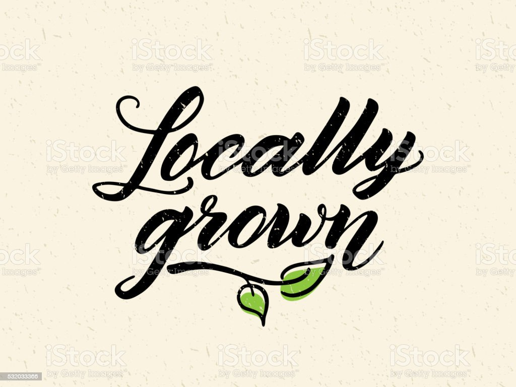 Locally grown hand drawn brush lettering vector art illustration