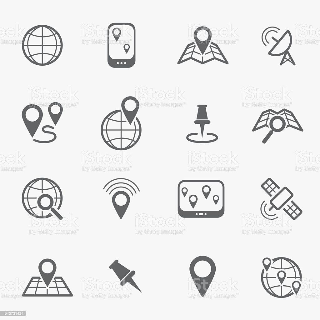 Location and navigation line icons vector art illustration