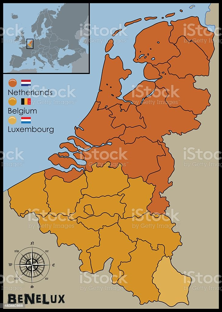 Location, Flags and Map of Benelux vector art illustration