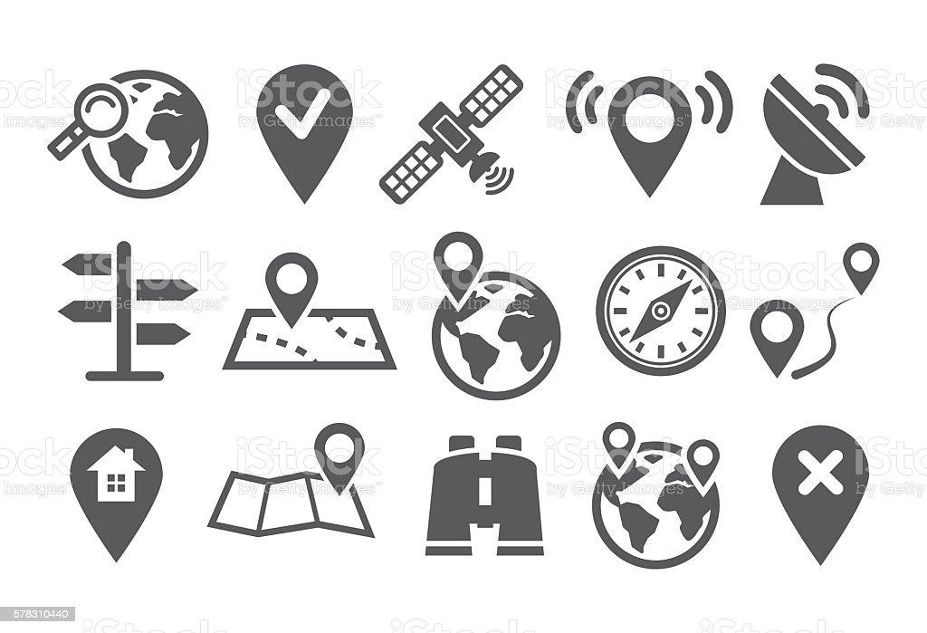 Location Icons vector art illustration