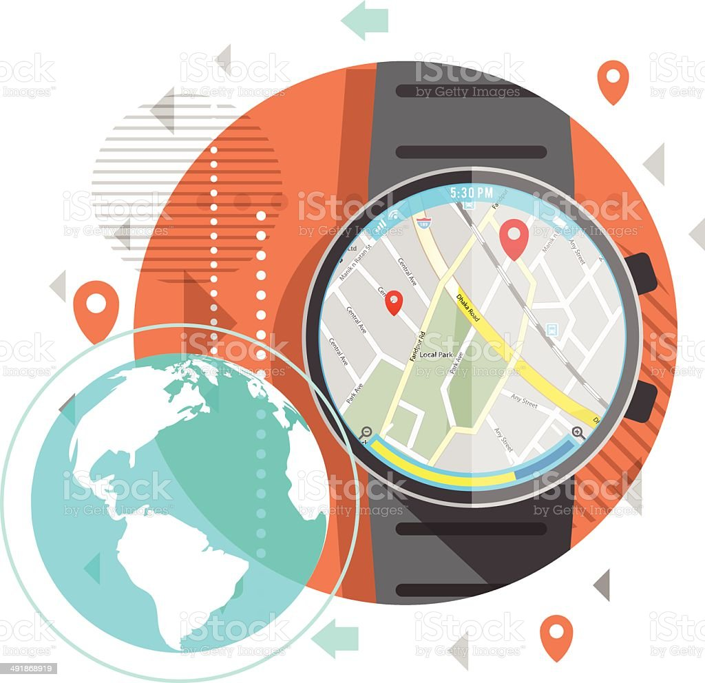 Location on Smart Watch royalty-free stock vector art