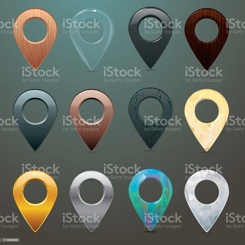 Location pins in different materials and textures vector art illustration