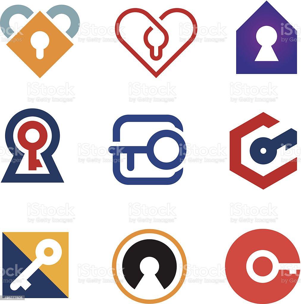 Lock and key of success in life adventure logo icon vector art illustration