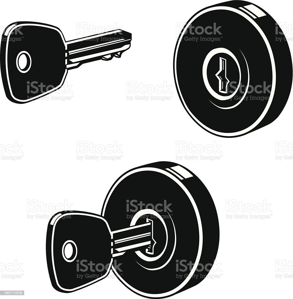 Lock and Key Silhouette Icon vector art illustration