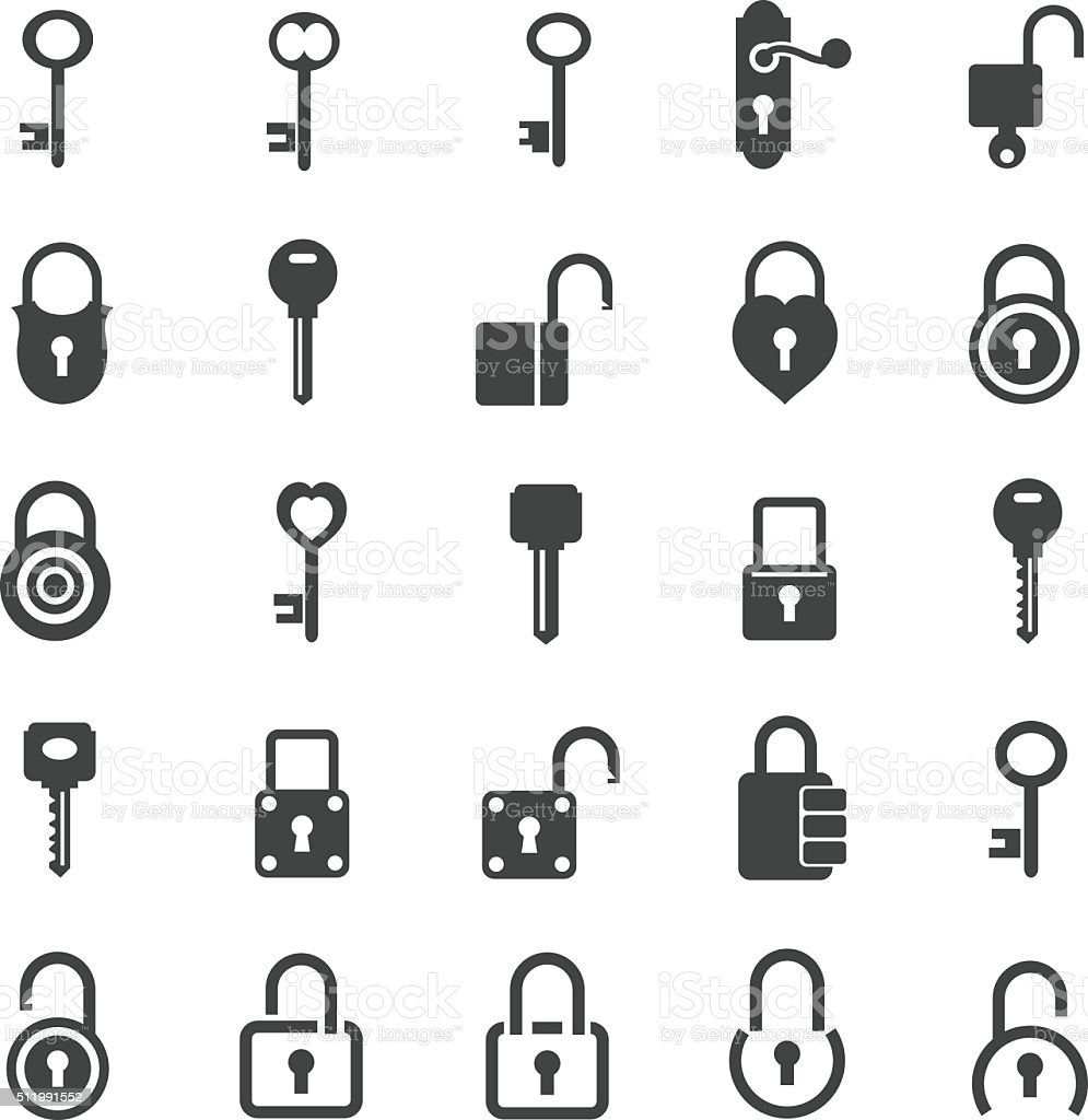 Lock icon set vector art illustration