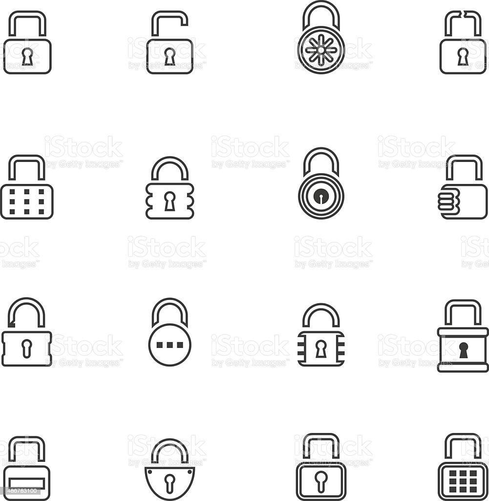 Lock icon set , vector illustration vector art illustration