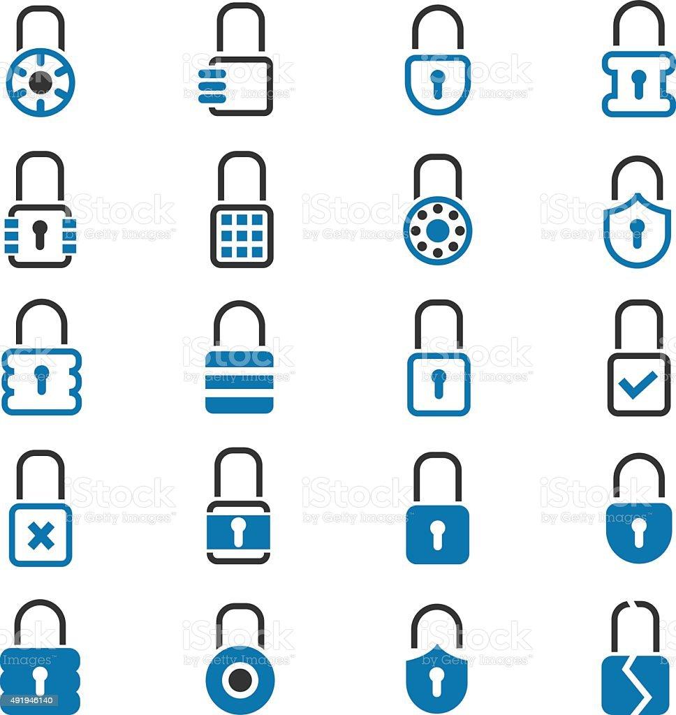 Lock icons set vector art illustration