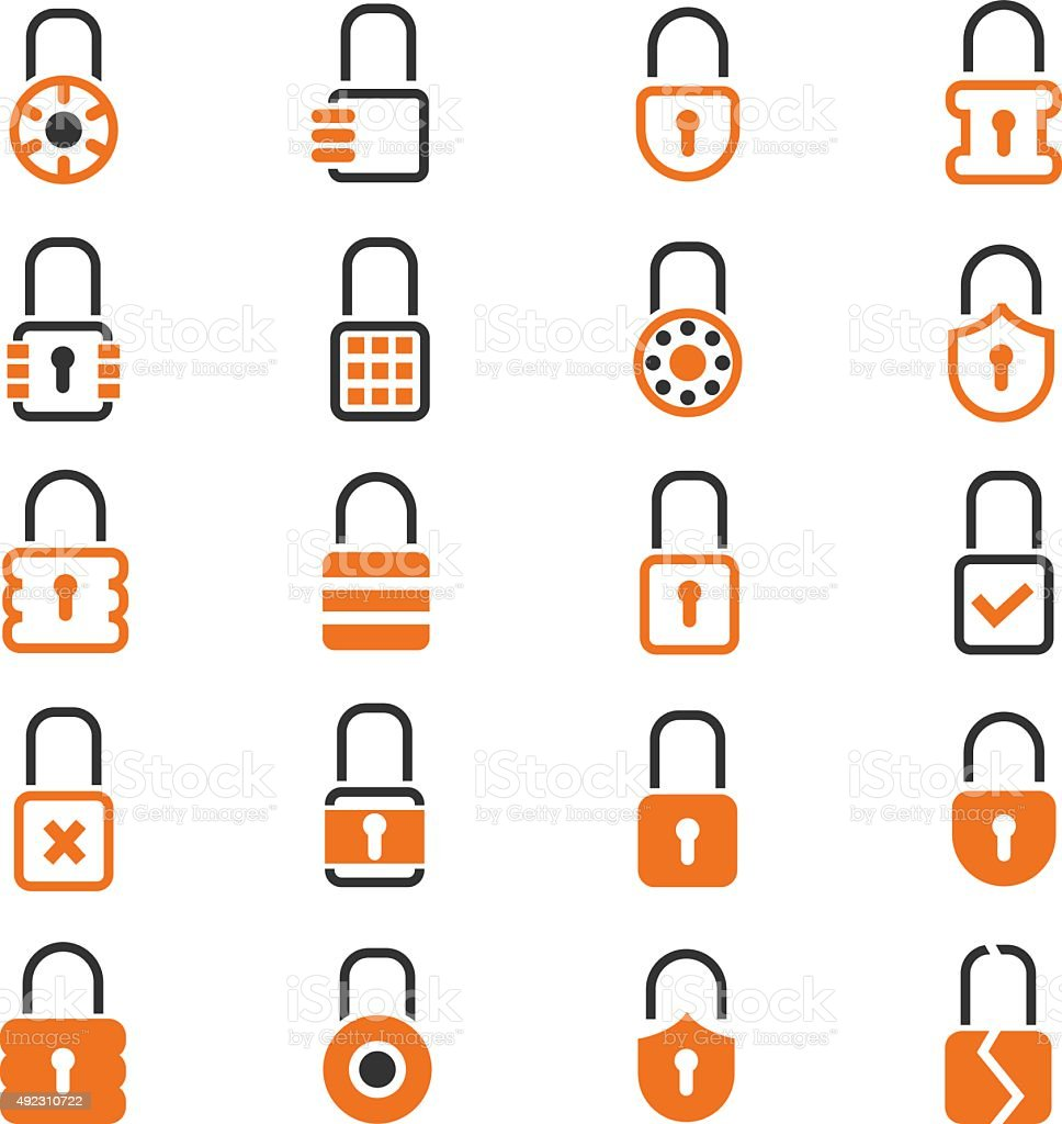 Lock icons set vector art illustration