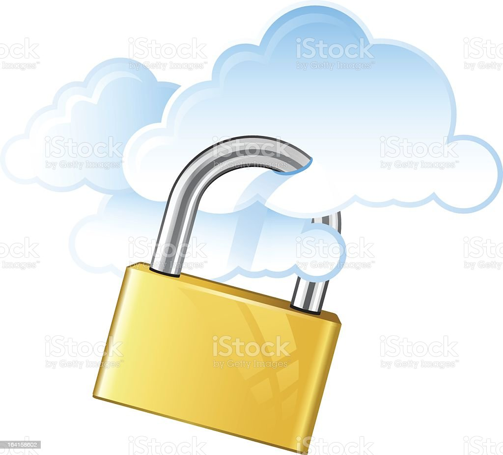lock on cloud server royalty-free stock vector art