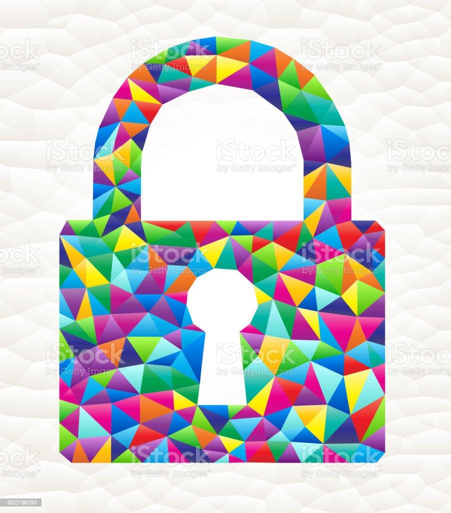 Lock on triangular pattern mosaic royalty free vector art royalty-free stock vector art