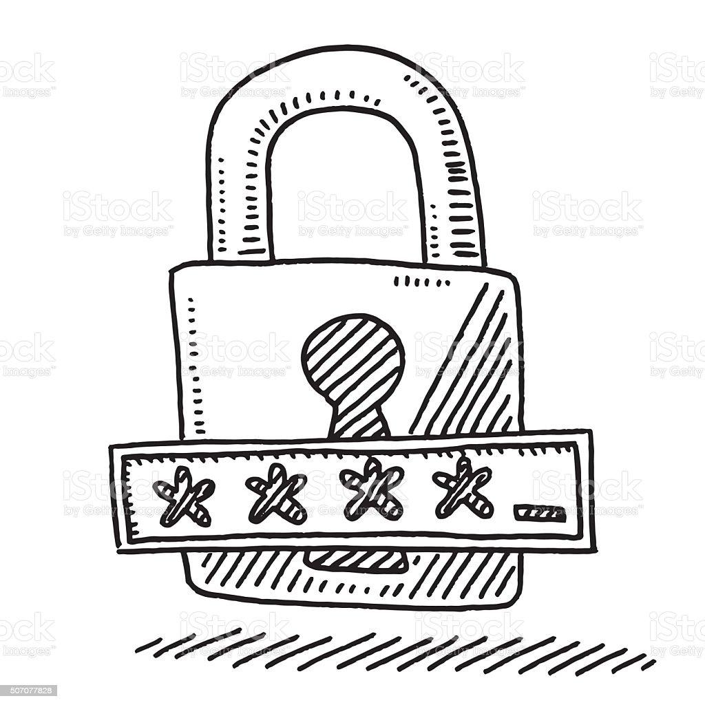Lock Password Field Asterisk Symbol Drawing vector art illustration