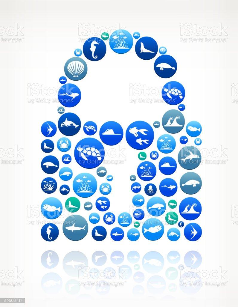 Lock Sea and Marine Life Button Pattern vector art illustration