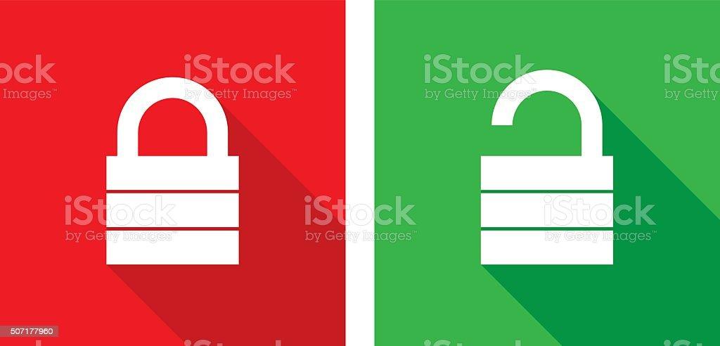 Lock Unlock Icons vector art illustration