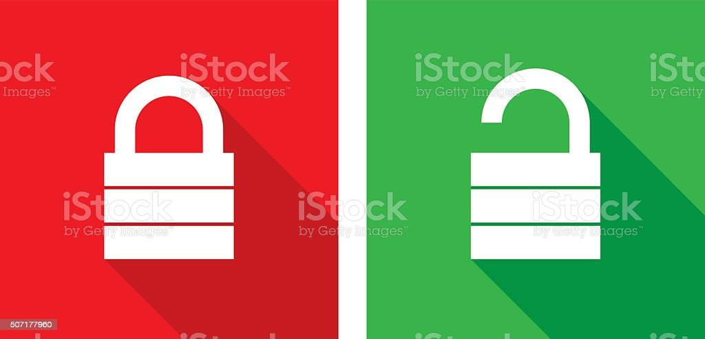 Lock Unlock Icons vector art illustration