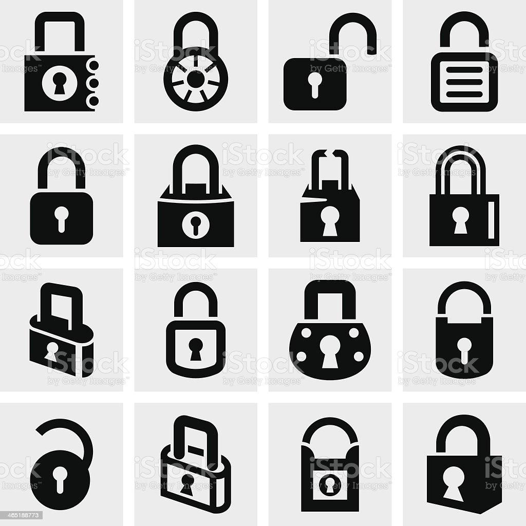 Lock vector icons set on gray vector art illustration