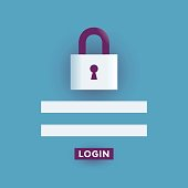 Lock with authorization text boxes - login and password.