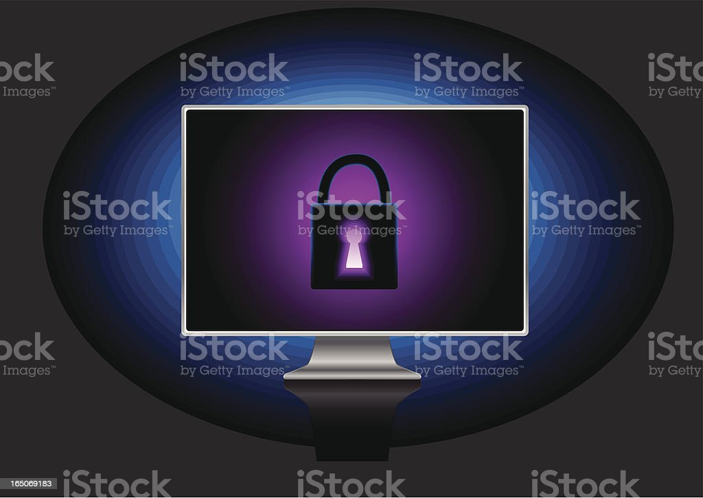 Locked computer royalty-free stock vector art