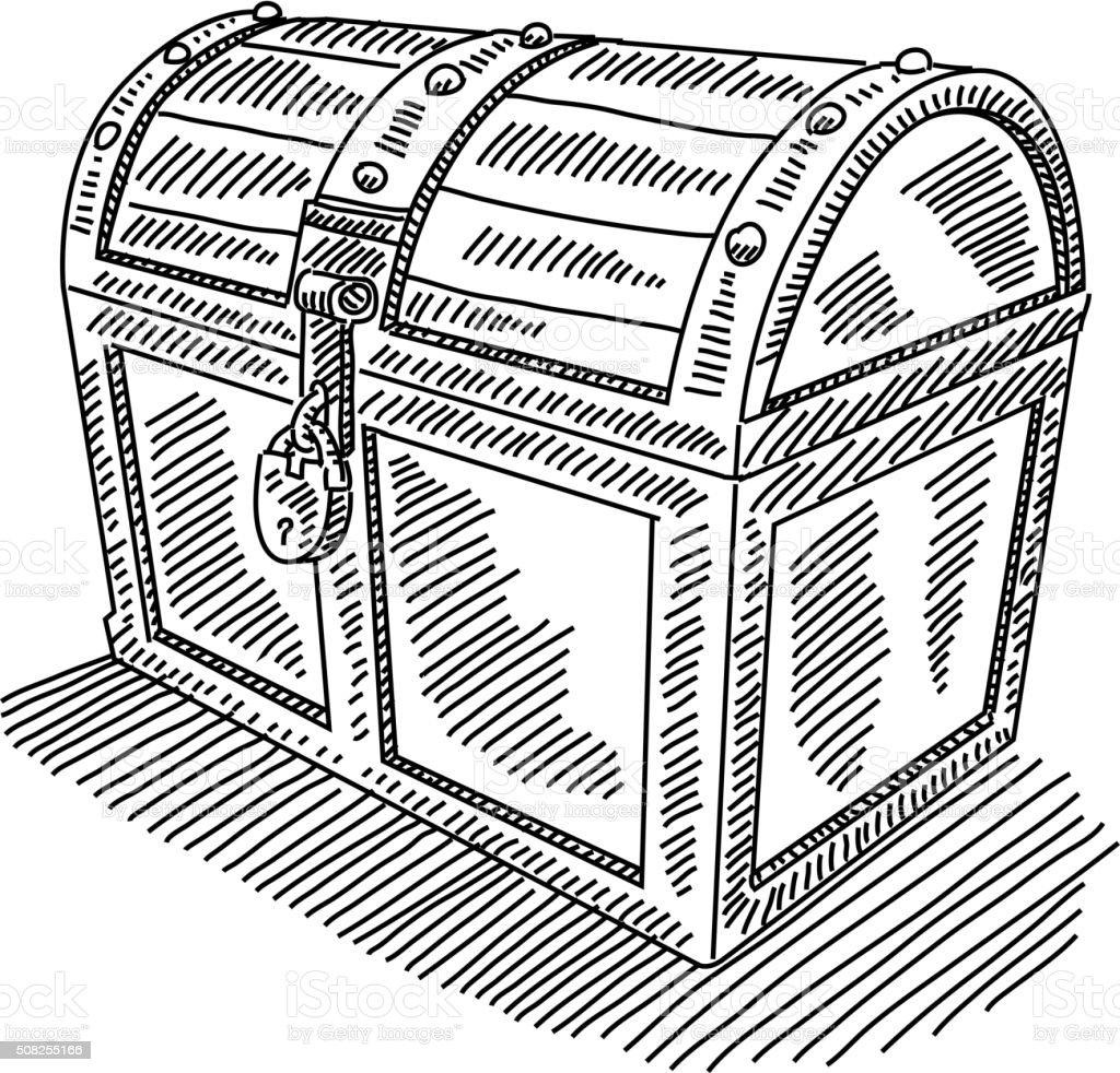 Locked Treasure Chest Drawing vector art illustration