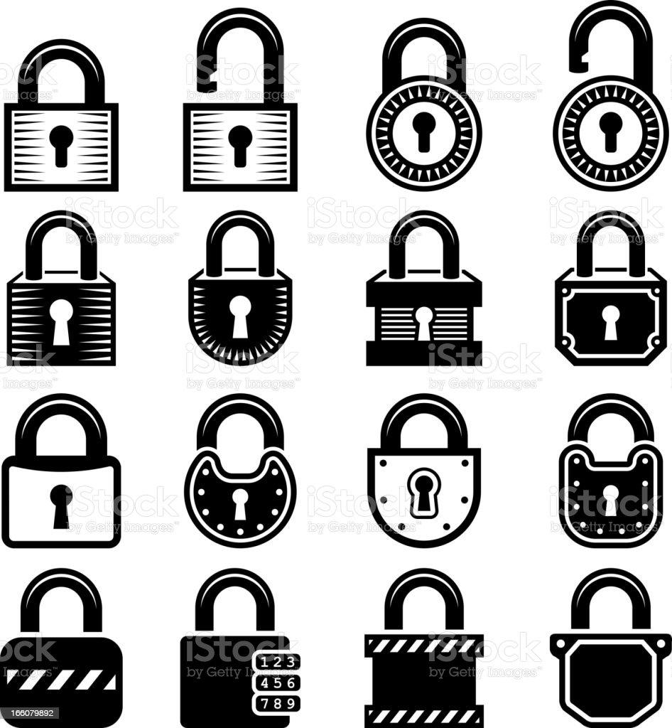 Locks black & white royalty free vector icon set vector art illustration