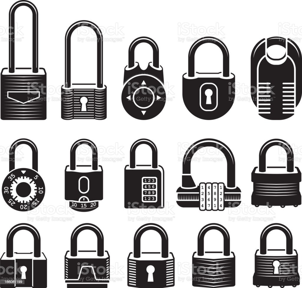 Locks black & white royalty free vector icon set vector art illustration