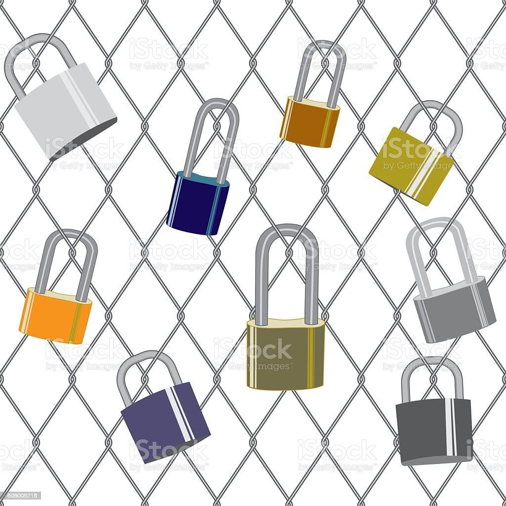 Locks on a fence vector art illustration
