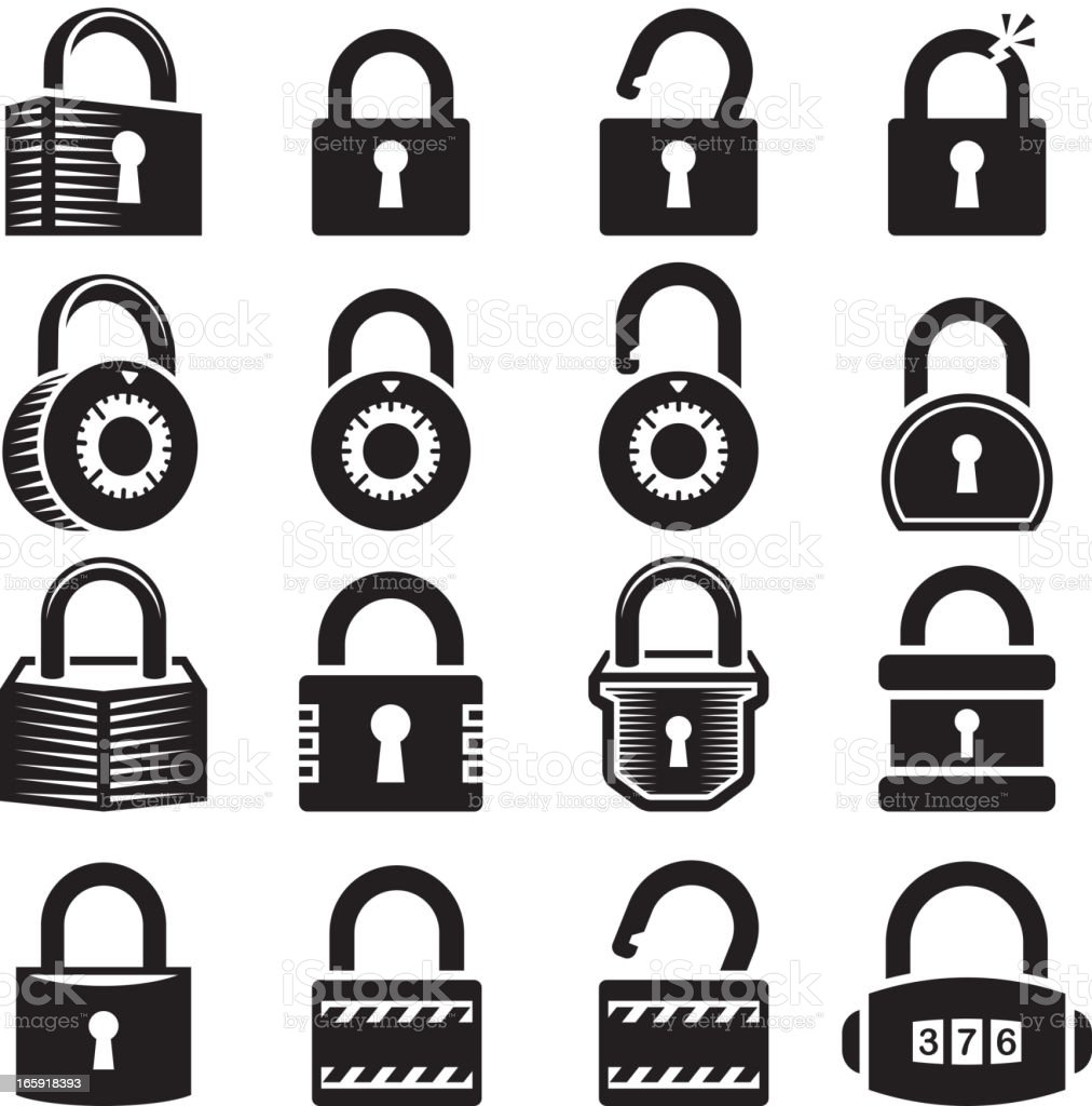 Locks black & white icon set vector art illustration