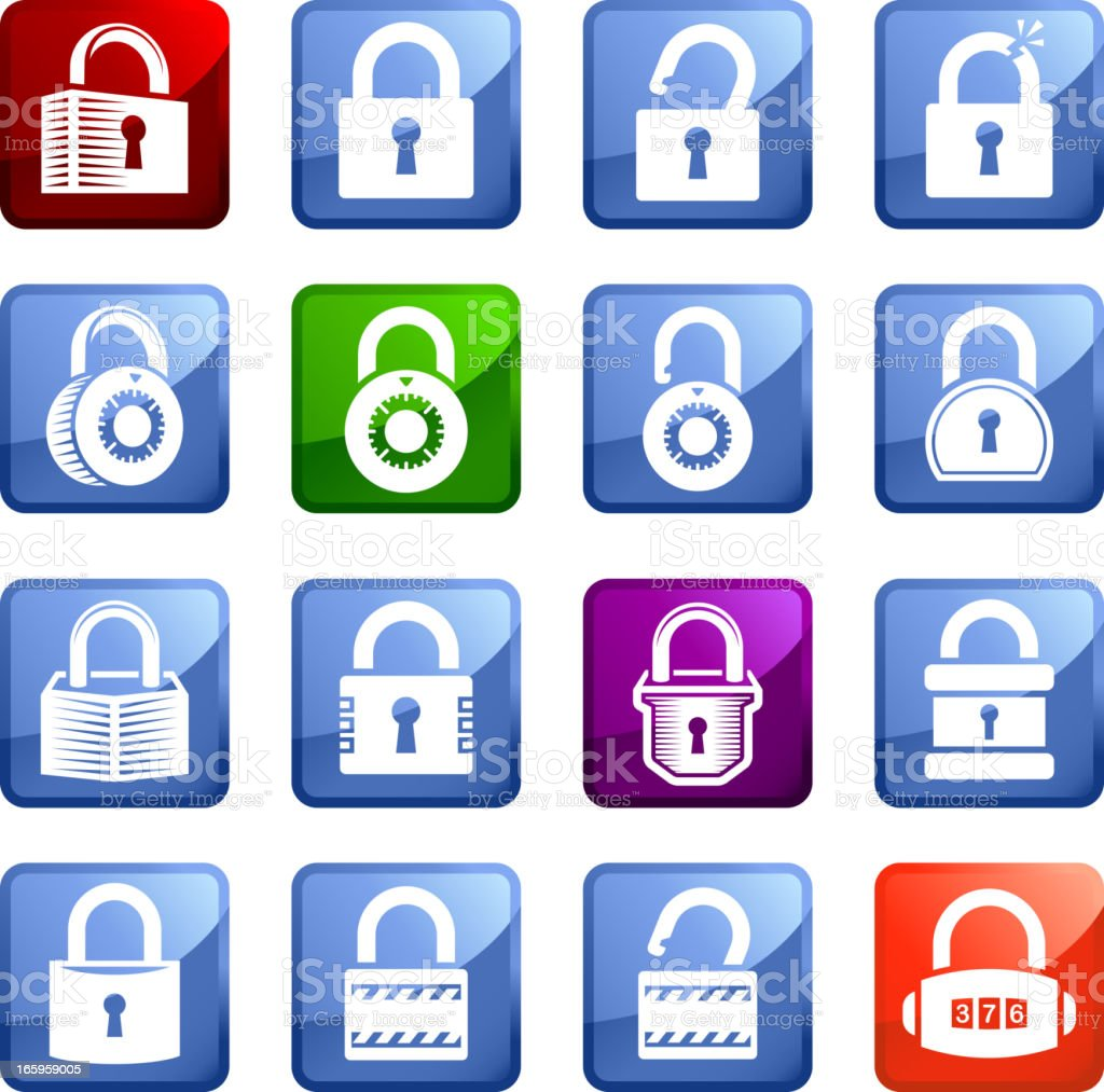 Locks royalty free vector icon set stickers royalty-free stock vector art