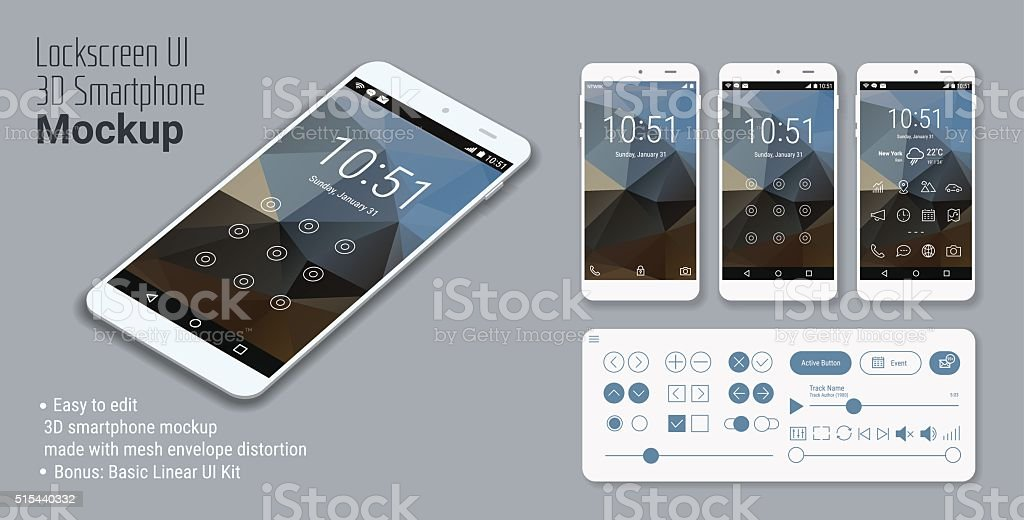 Lockscreen mobile UI smartphone mockup vector art illustration