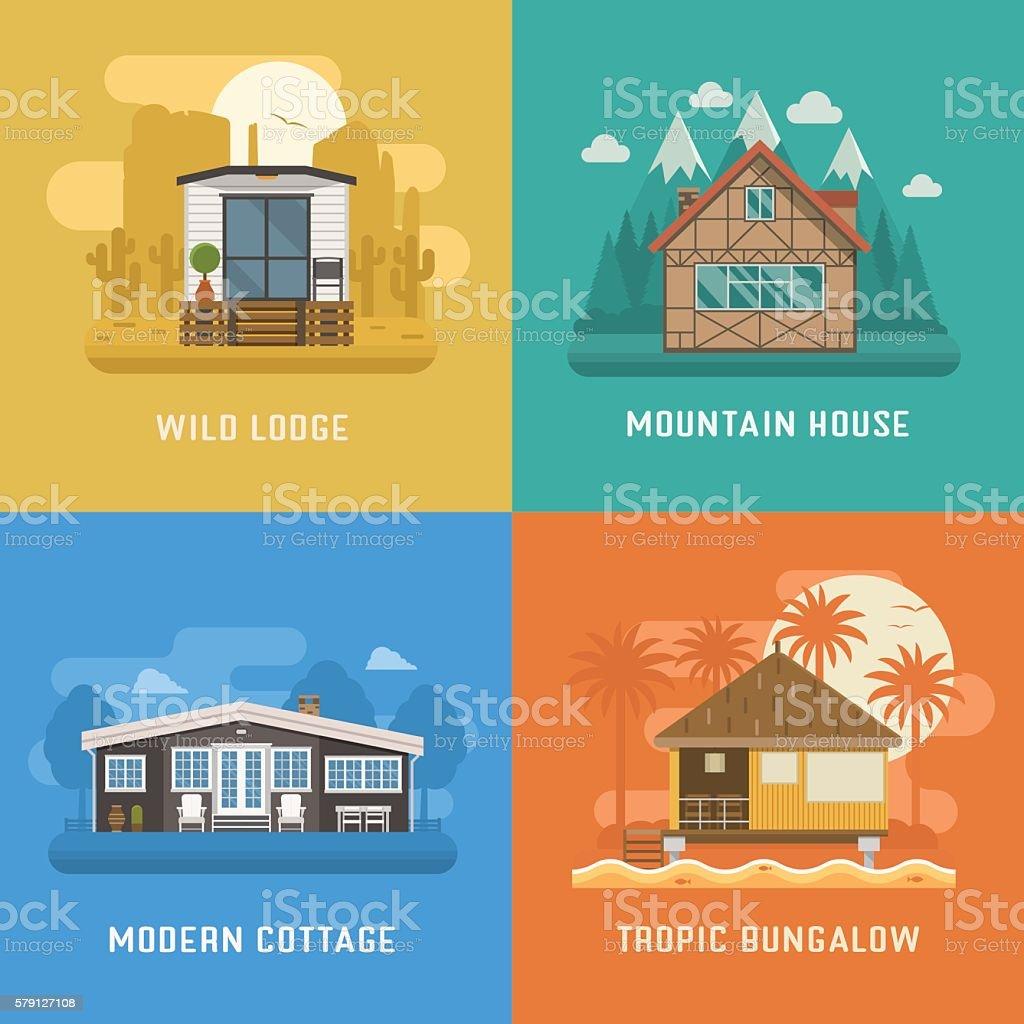 Lodge, Chalet, Cottage and Bungalow House Set vector art illustration