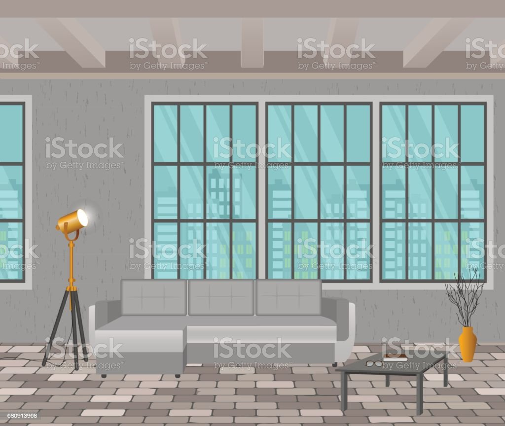 Loft design concept. Living room interior in hipster style with window, sofa, lamps and brick floor. vector art illustration