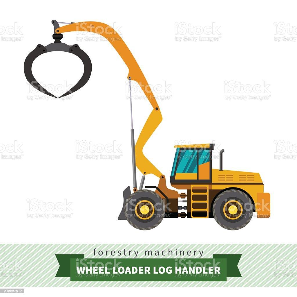 Log handler vehicle vector art illustration