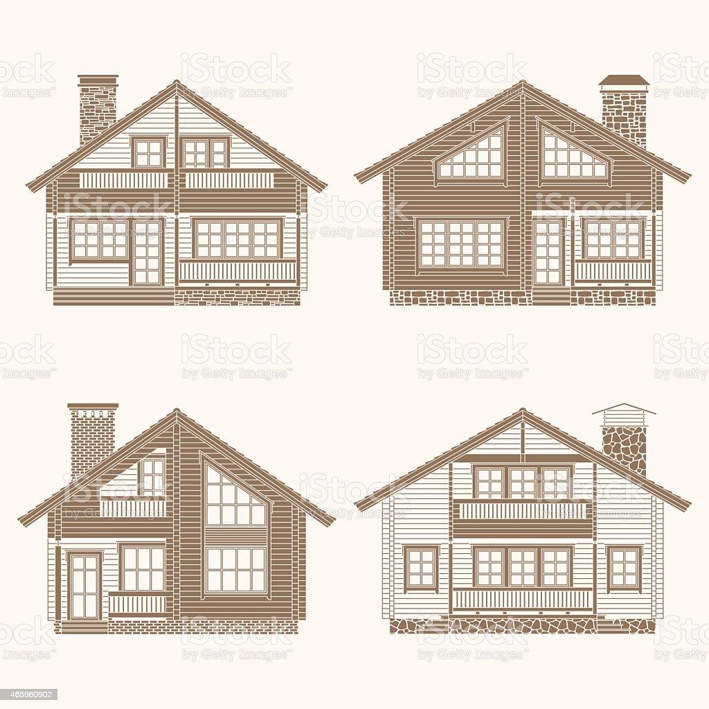 Log houses set vector art illustration