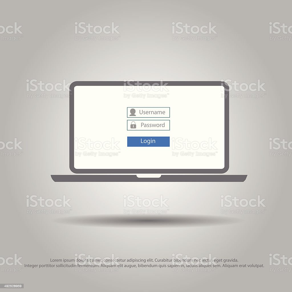 log on in laptop vector icon vector art illustration
