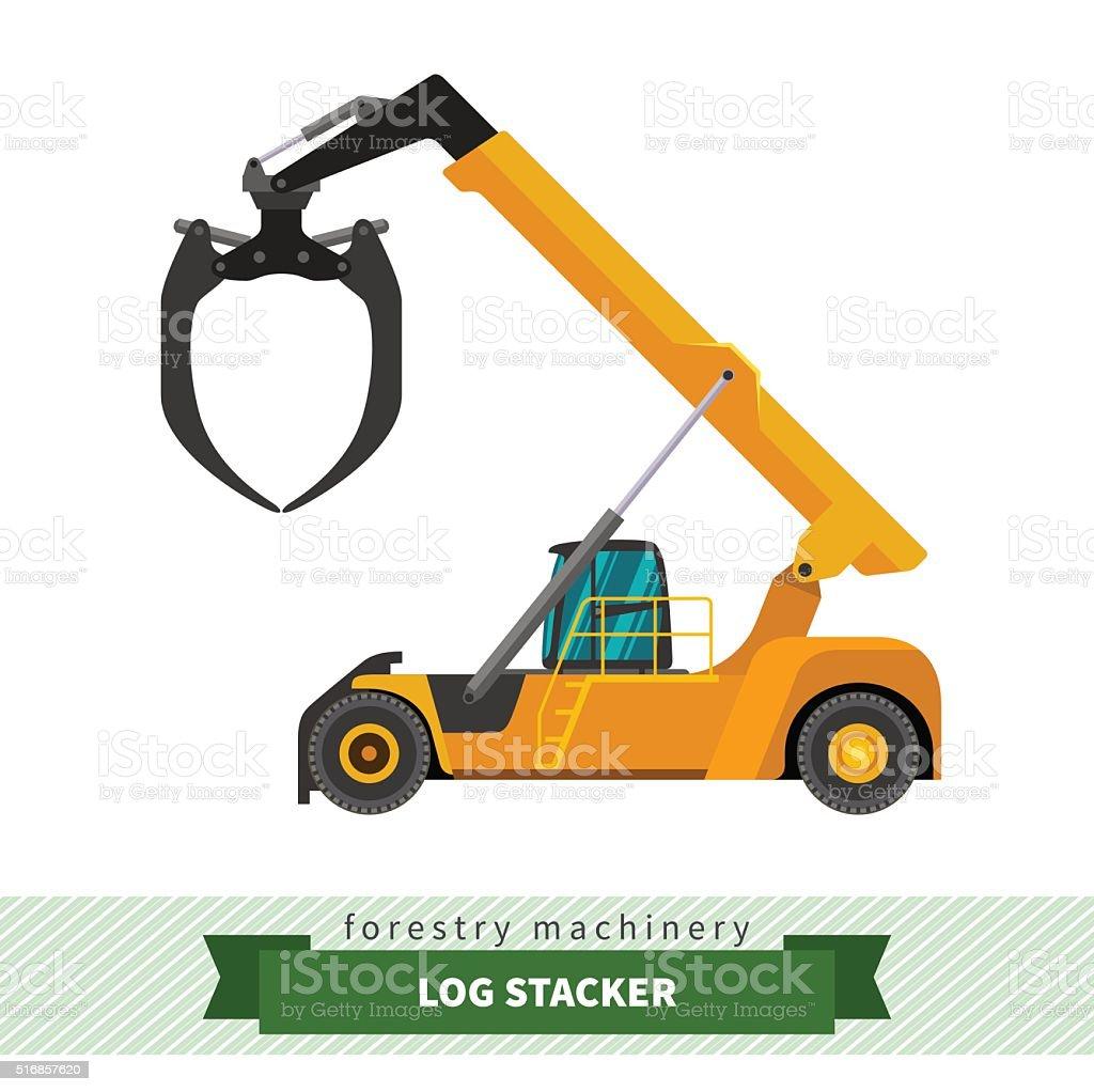Log stacker vehicle vector art illustration