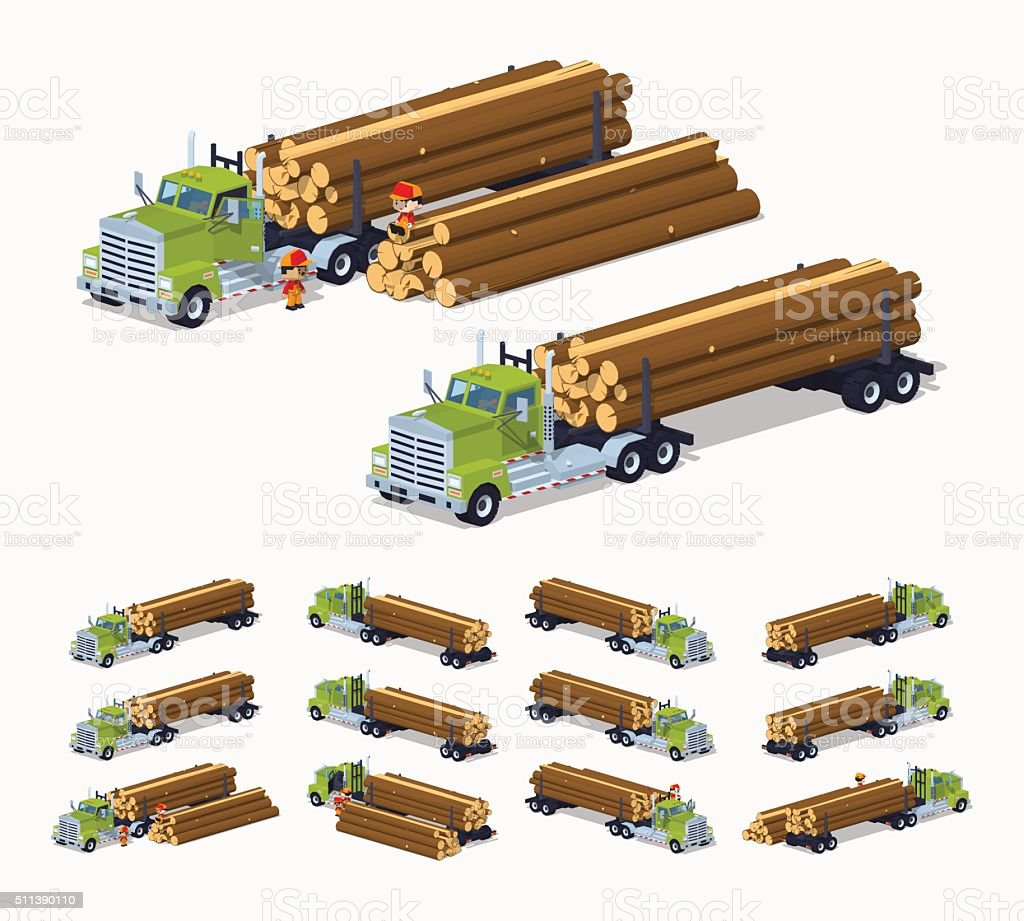 Log truck with the pile of logs vector art illustration