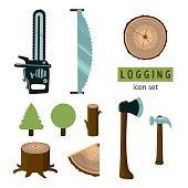 Logging icon set.