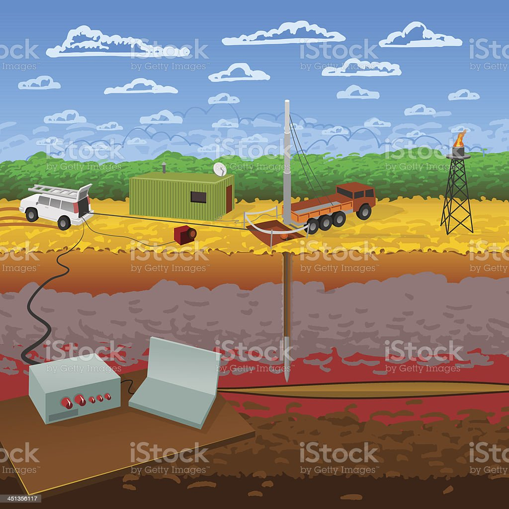 Logging Systems and Probes vector art illustration