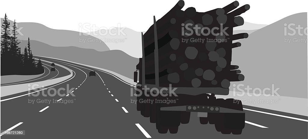 Logging Truck On The Highway vector art illustration