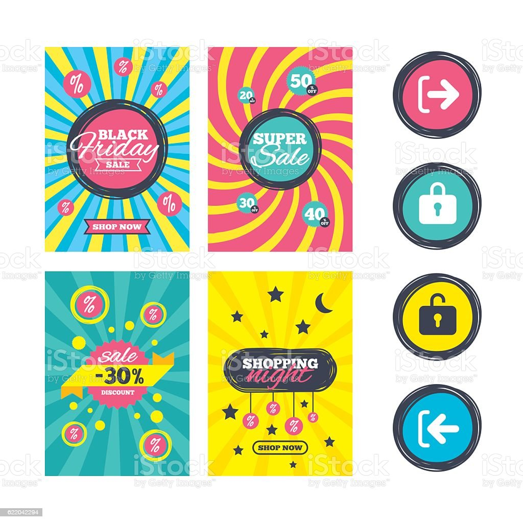 Login and Logout icons. Sign in icon. Locker. vector art illustration